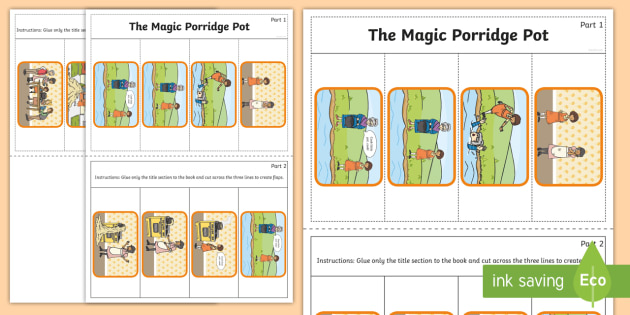 The Magic Porridge Pot Story Writing Flap Book - flap book, story