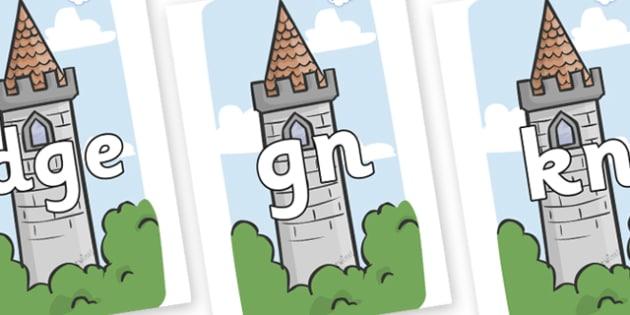 Silent Letters on Towers - Silent Letters, silent letter, letter blend, consonant, consonants, digraph, trigraph, A-Z letters, literacy, alphabet, letters, alternative sounds