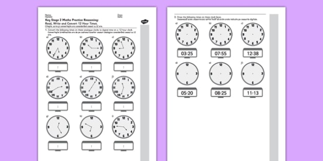 KS2 Reasoning Test: Read, Write and Convert Time Between Analogue and Digital 12-Hour Clocks Romanian Translation - ks2, key stage 2, maths, assessments, assess, tests, practise, problem-solving, time, hour, 24, minute, clock, clocks, romania, eal, t