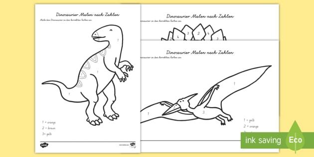Dinosaurier Malen Nach Zahlen Dinosaurs Colour By Number Dinosaurs