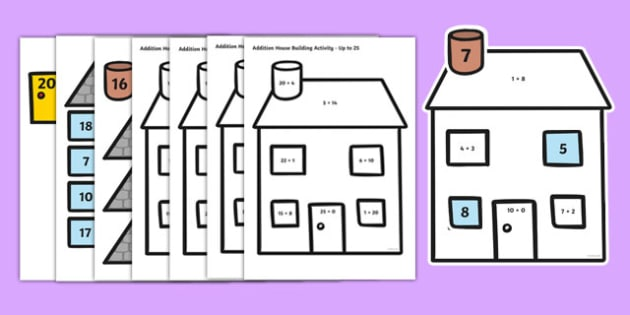 Basic Addition Picture Building House Activity - basic, addition, picture, building, house, activity