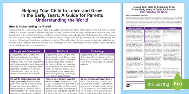 Supporting Your Child's Learning in Reception - Understanding the World Parent and Carer Information Sheet - reception, foundation, fs2, early years, eyfs, development matters, parents, carers, understanding t