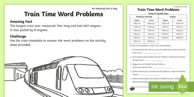 train time word problems worksheet worksheet july amazing fact. Black Bedroom Furniture Sets. Home Design Ideas