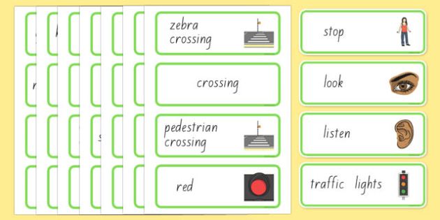 New Zealand Road Safety Word Cards