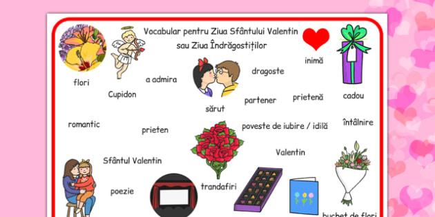 Ziua indragostitilor,  plansa cuvinte, sf valentin, februarie, Romanian