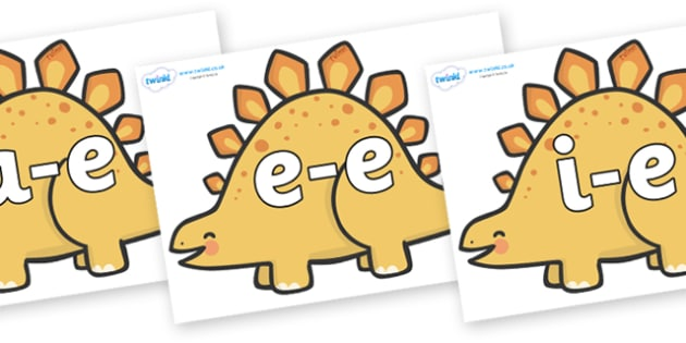 Modifying E Letters on Stegosarus Dinosaurs - Modifying E, letters, modify, Phase 5, Phase five, alternative spellings for phonemes, DfES letters and Sounds