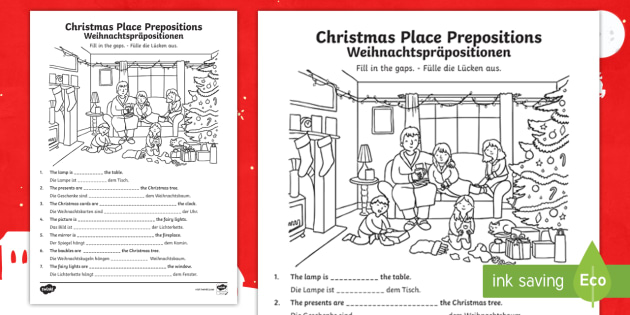 christmas place prepositions fill in the gaps worksheet activity sheet. Black Bedroom Furniture Sets. Home Design Ideas