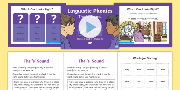 Northern Ireland Linguistic Phonics Stage 5 and 6 Phase 3b, 's' Sound PowerPoint  - NI, sound search, text