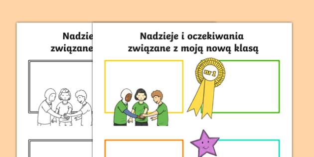 Karta Nadzieje i oczekiwania związane z nową klasą po polsku, worksheet