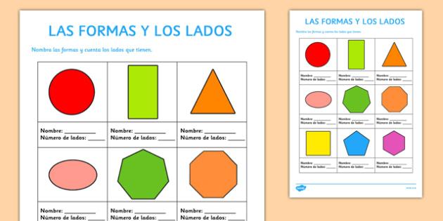 Ficha Las formas y los lados - spanish, shapes, sides, formas, lados, ficha