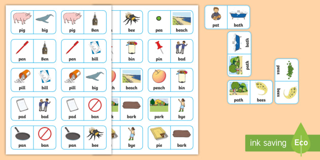 'p' and 'b' Minimal Pair Dominoes  - minimal pairs, pre-vocalic voicing, speech sounds, dyspraxia, articulation, bilabials, plosives, spe