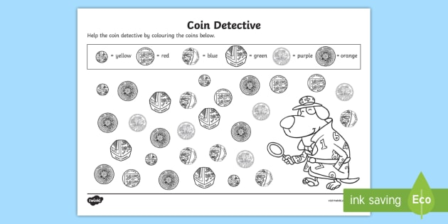 new coin detectives worksheet currency money coins pounds pence. Black Bedroom Furniture Sets. Home Design Ideas