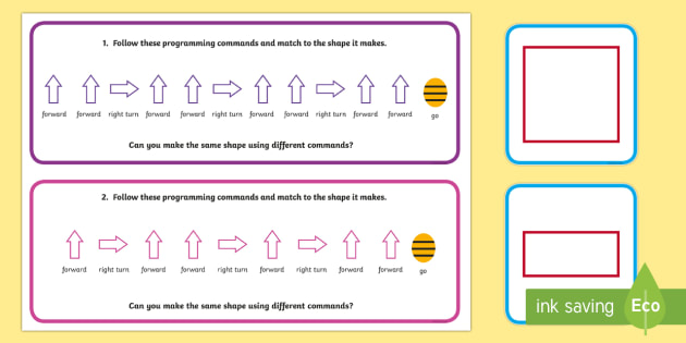 Bee Bot Command Cards - Program, Algorithm, Bee bot Direction Prompt