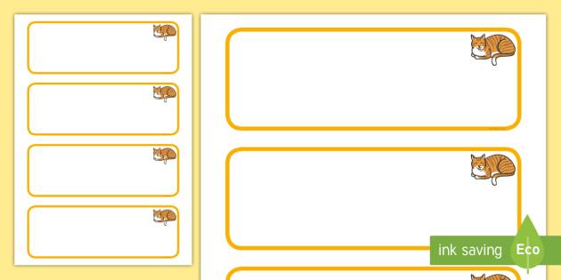 Cat Themed Editable Drawer-peg-name Labels  Blank