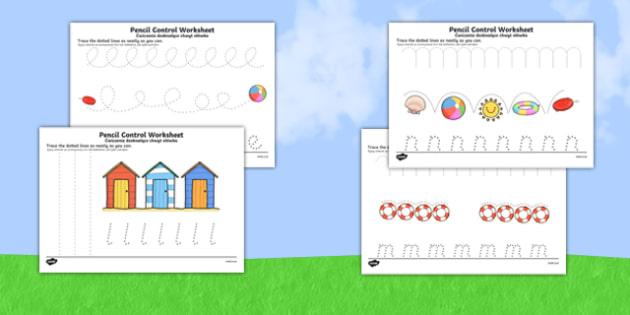 Summer Pencil Control Activity Sheets Polish Translation - polish, seasons, fine motor skills, worksheet