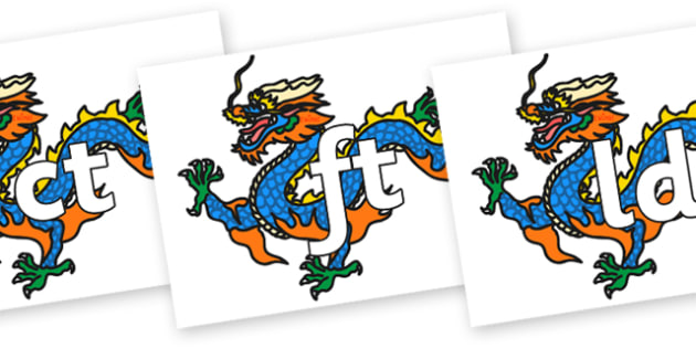 Final Letter Blends on Chinese Dragon - Final Letters, final letter, letter blend, letter blends, consonant, consonants, digraph, trigraph, literacy, alphabet, letters, foundation stage literacy