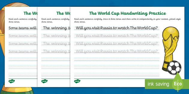 eyfs ks1 the journey to continuous cursive the world cup handwriting. Black Bedroom Furniture Sets. Home Design Ideas