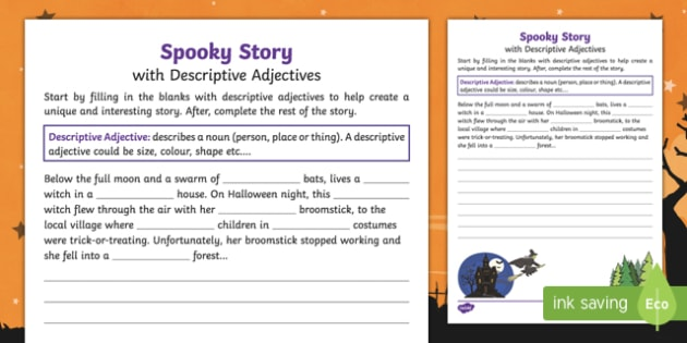Spooky Story Opener with Descriptive Adjectives Activity Sheet