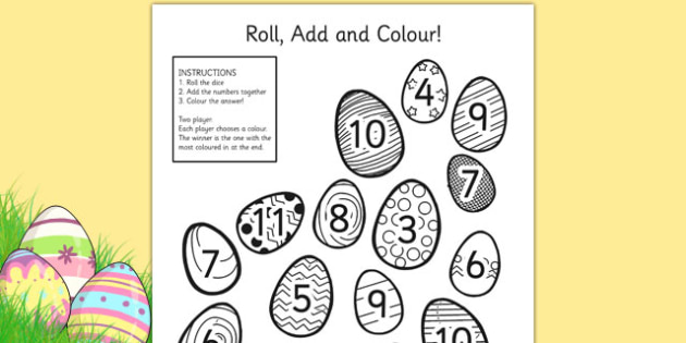 Easter Egg Colour and Roll Worksheet - easter, colouring, wetplay