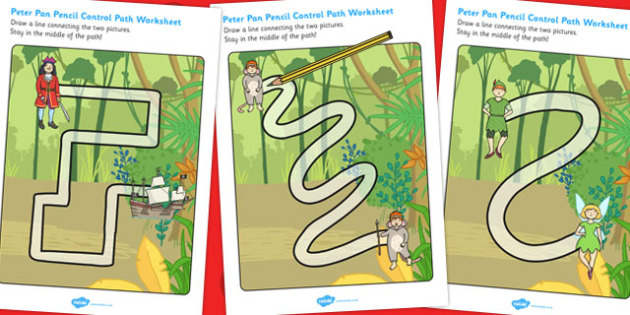 Peter Pan Pencil Control Path Worksheets - worksheet, traditional