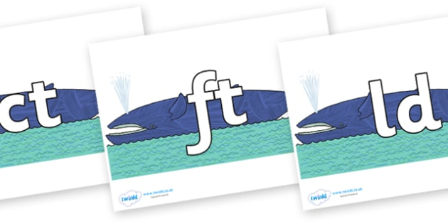 Final Letter Blends on Whale to Support Teaching on Sharing a Shell - Final Letters, final letter, letter blend, letter blends, consonant, consonants, digraph, trigraph, literacy, alphabet, letters, foundation stage literacy