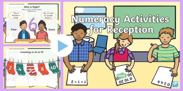 Reception Numeracy Starter Activities PowerPoint - Number, Managing Money, Money, Shape, Reasoning, Wales, Reception, Numeracy, Maths, Wales.