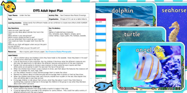 Sea Creatures Wax Resist Drawings EYFS Adult Input Plan and Resource Pack - seaside