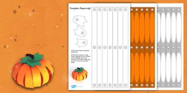 Paper Pumpkin Craft - paper, craft, pumpkin, halloween, craft
