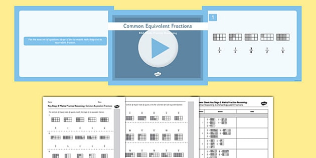 KS2 Reasoning Test Practice Common Equivalent Fractions Pack