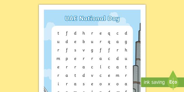 UAE National Day Word Search - UAE National Day, UAE, national day, sheikh, khalifa, sheikh khalifa, ADEC, abu dhabi, dubai, sheikh