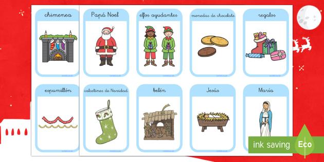 Tarjetas de vocabulario: Las tradiciones navideñas - Navidad, tradiciones, vocabulario, tarjetas, escritura, lectura, Reyes, Spanish