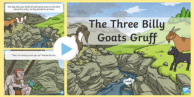 The Three Billy Goats Gruff Story PowerPoint - the three billy goats gruff, the three billy goats gruff powerpoint, the three billy goats gruff story