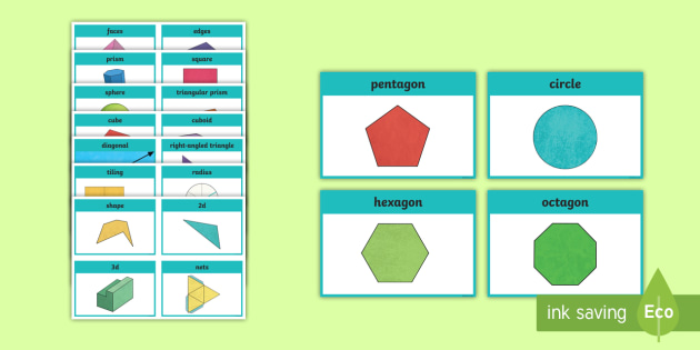 CfE Second Level Numeracy and Mathematics Properties of 2D Shape and 3D Objects Keyword Flashcards - Wall Display, keywords, MNU 2-16a, MNU 2-16b, MNU 2-16c, language of maths, vocabulary, word wall,Sc