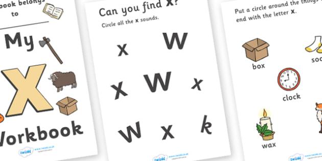 My Workbook x lowercase - workbook, phonics, letters and sounds, x sound, x, lowercase x, letters and sounds workbooks, phonics workbook, x workbook