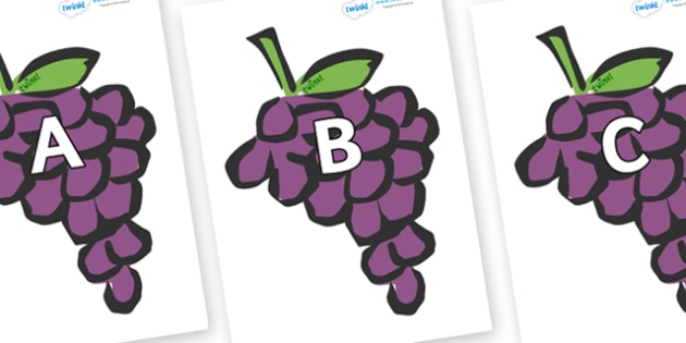 A-Z Alphabet on Grapes - A-Z, A4, display, Alphabet frieze, Display letters, Letter posters, A-Z letters, Alphabet flashcards