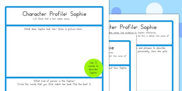 Character Profile Sophie Worksheet - australia, character, profile, bfg