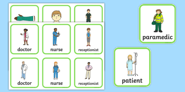Hospital Role Play Badges - Hospital Role Play, hospital resources, people who help us, nurser, doctor, hospital, ward, bandages, role play, display, poster, role play badge