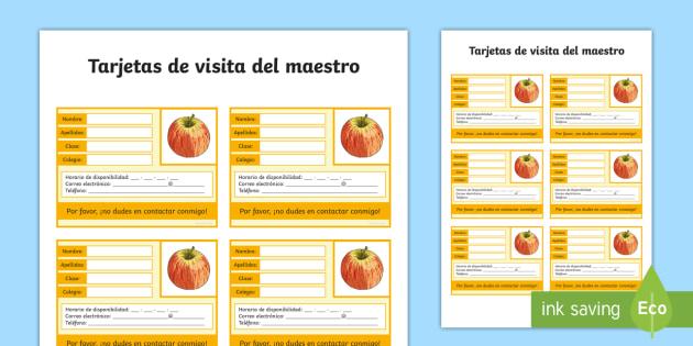 Tarjetas de visita del maestro - la vuelta al cole, tarjetas de visita, maestro, maestra, información personal