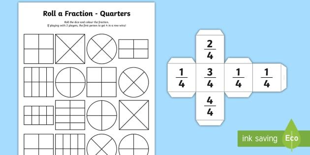 Roll a Fraction Quarters Worksheet / Worksheet - - Year 1 ...