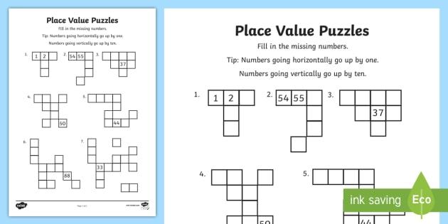 year 2 place value puzzles worksheet worksheet mathematics acmna026. Black Bedroom Furniture Sets. Home Design Ideas