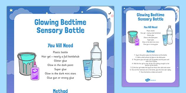 Glowing Bedtime Sensory Bottle - glowing, bedtime, dream jar, BFG, sensory bottle, eyfs, early years