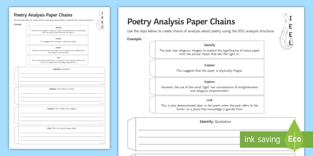 gcse poetry analysis paper chains worksheet worksheet poetry analysis. Black Bedroom Furniture Sets. Home Design Ideas