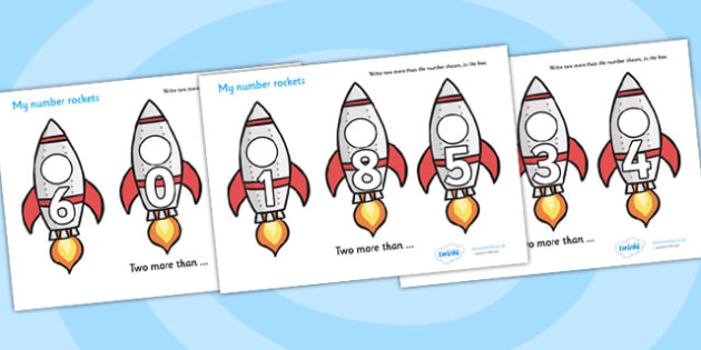 My Number Rockets (Two More) - Counting, Numeracy, Two more than, Foundation, Calculation, Adding, Rocket Resource, Addition