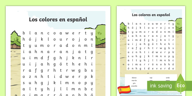 photo relating to Spanish Word Searches Printable named Spanish Shades Term Look - Spanish, KS2, vocabulary