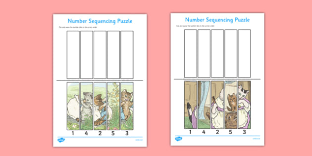 Beatrix Potter - The Tale of Tom Kitten Number Sequencing Puzzle - beatrix potter, tom kitten