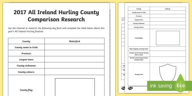 2016 All Ireland Hurling Final Galway and Waterford Comparison Worksheet / Activity Sheet - Gaillimh, ROI, Ireland, GAA, hurling, All Ireland, final, county, comparison, fact, research, Irish