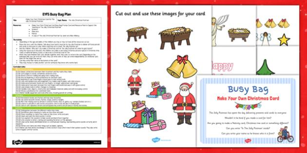 EYFS Make Your Own Christmas Card Busy Bag Plan and Resource Pack - EYFS, Christmas, Card, busy bag
