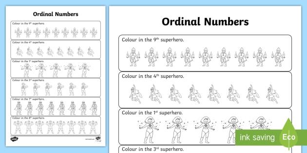 Superhero Ordinal Numbers Worksheet - ordinal, numbers, worksheet ...