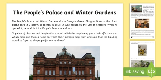 Glasgow People's Palace and Winter Gardens Information and Photo Sheet - Scottish Cities, tourism, tourist attraction, doulton fountain, Sir Henry Doulton, Scottish