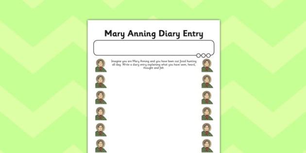 Mary Anning Diary Entry Plain Activity Sheet - activity, mary anning, diary, worksheet